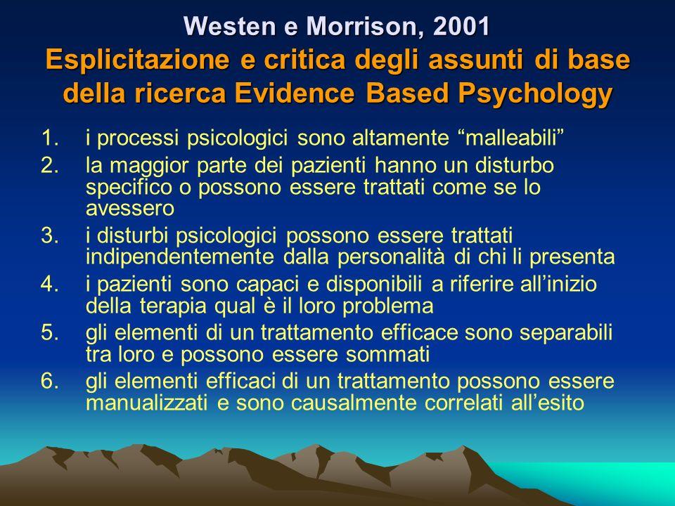 Westen e Morrison, 2001 Esplicitazione e critica degli assunti di base della ricerca Evidence Based Psychology