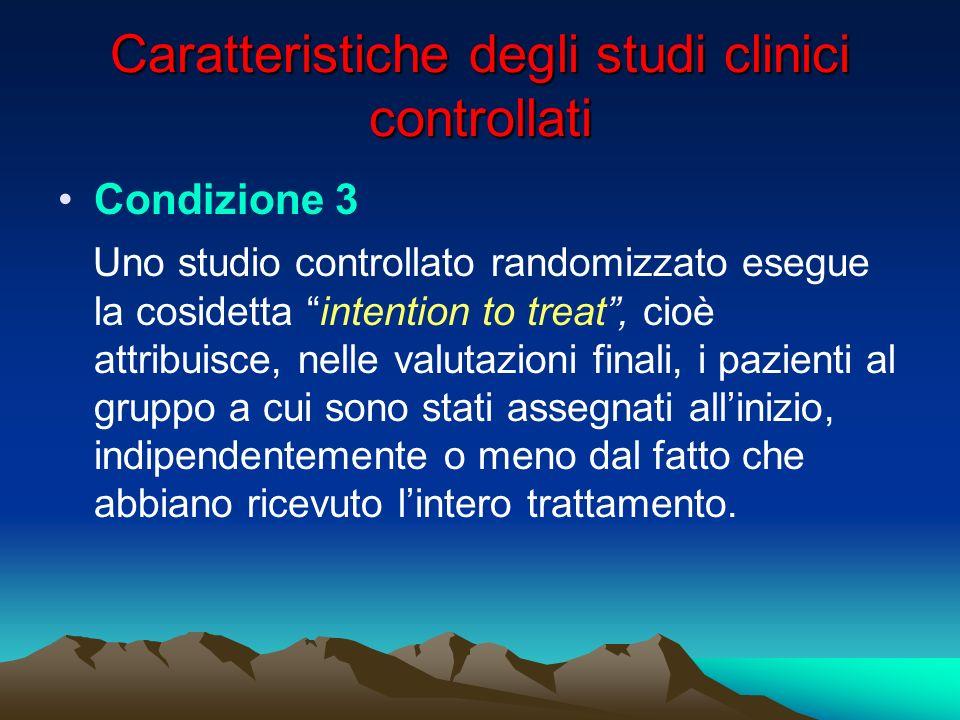 Caratteristiche degli studi clinici controllati