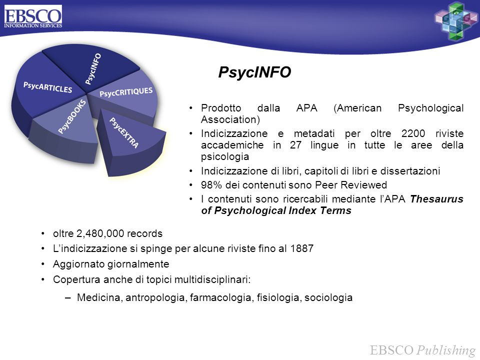 PsycINFO Prodotto dalla APA (American Psychological Association)