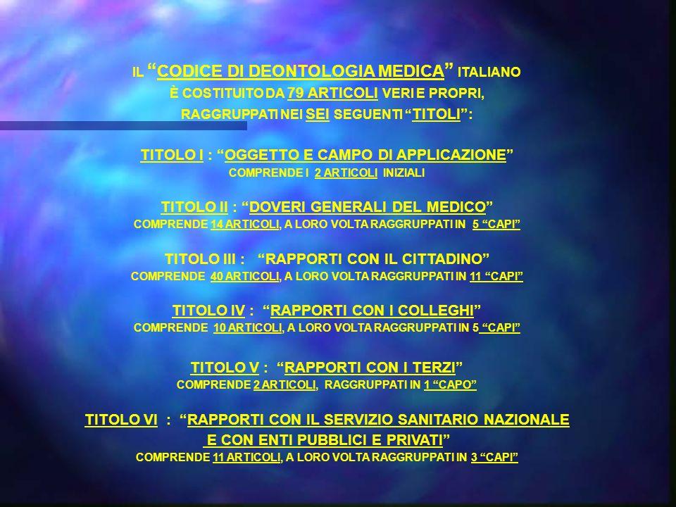TITOLO I : OGGETTO E CAMPO DI APPLICAZIONE