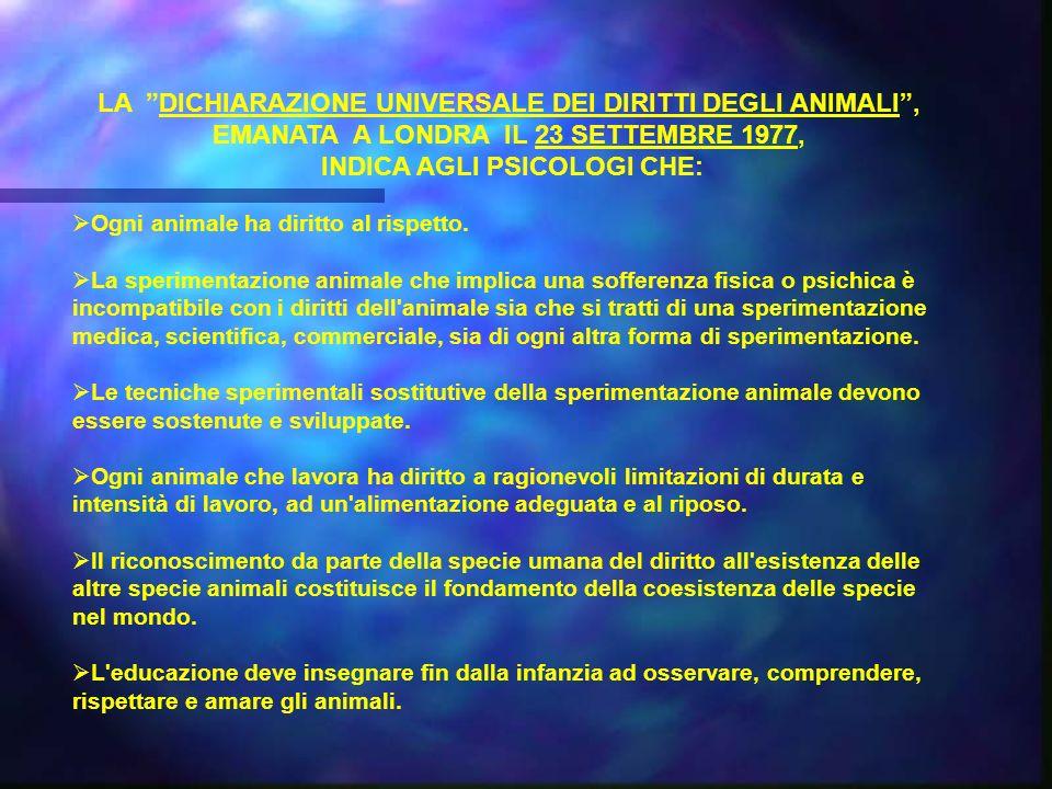 LA DICHIARAZIONE UNIVERSALE DEI DIRITTI DEGLI ANIMALI ,