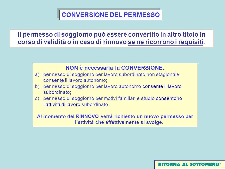 CONVERSIONE DEL PERMESSO NON è necessaria la CONVERSIONE: