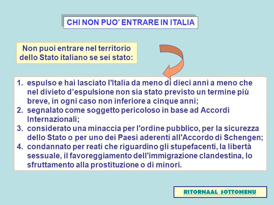 CHI NON PUO' ENTRARE IN ITALIA