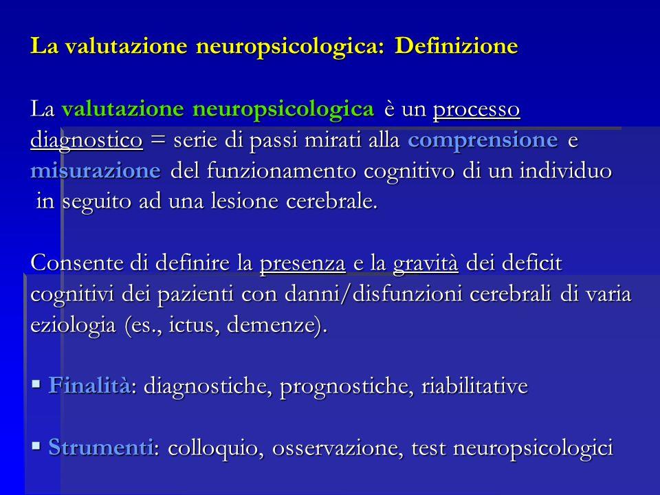 La valutazione neuropsicologica: Definizione