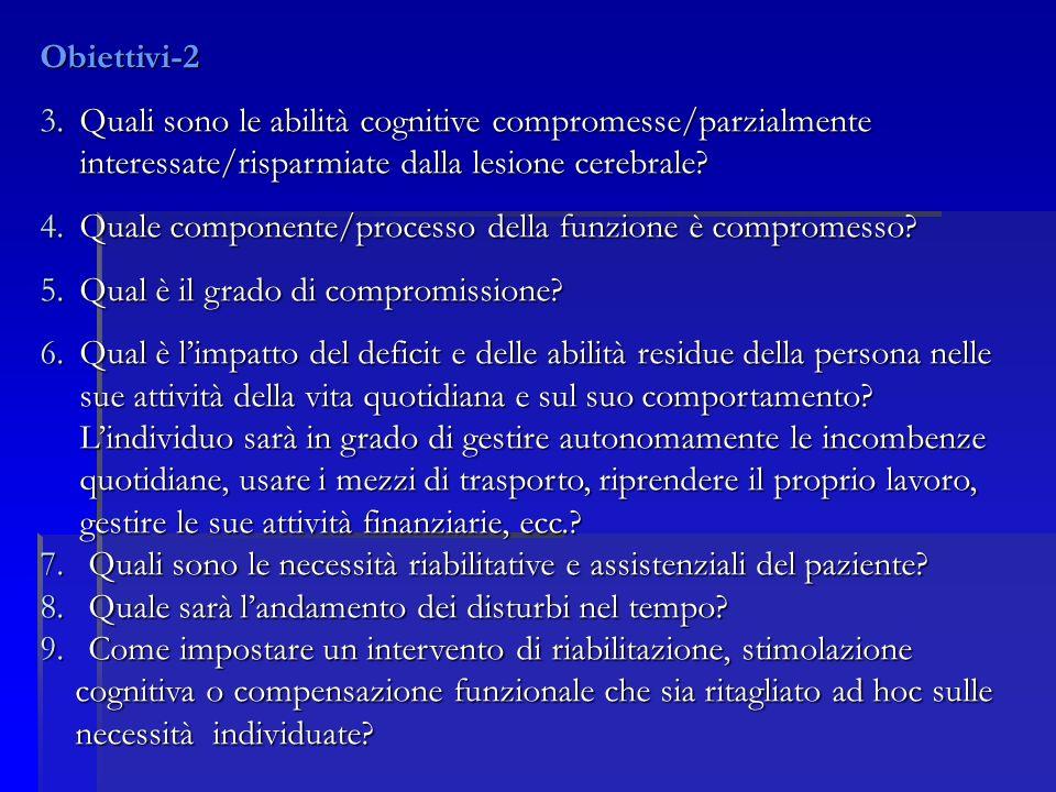 Obiettivi-2 Quali sono le abilità cognitive compromesse/parzialmente interessate/risparmiate dalla lesione cerebrale