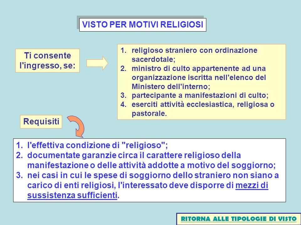 VISTO PER MOTIVI RELIGIOSI Ti consente l ingresso, se: Requisiti