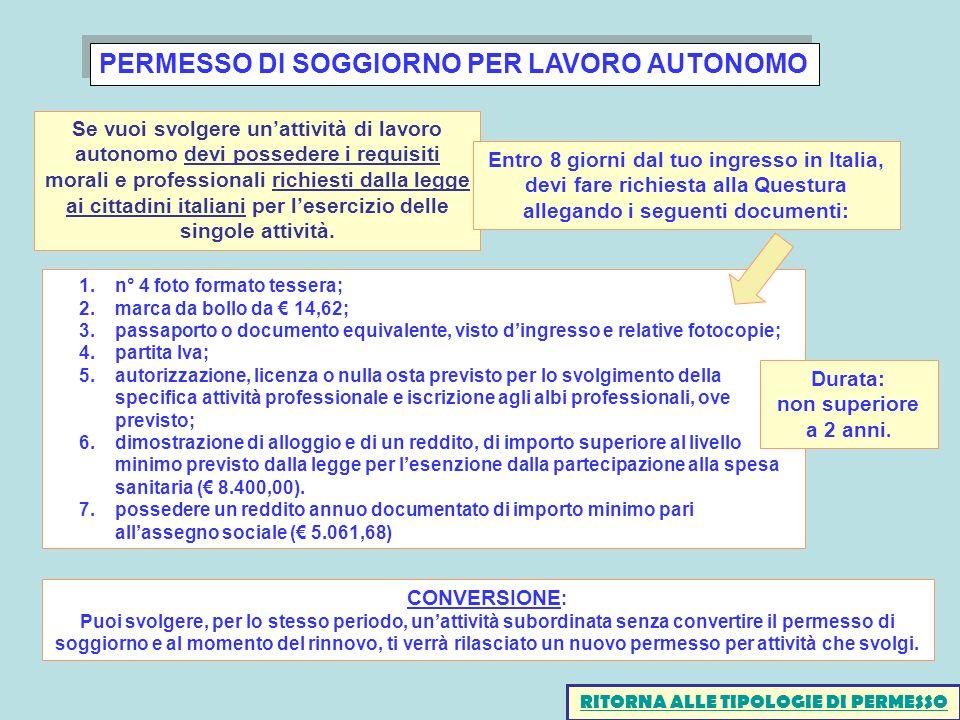 PERMESSO DI SOGGIORNO PER LAVORO AUTONOMO