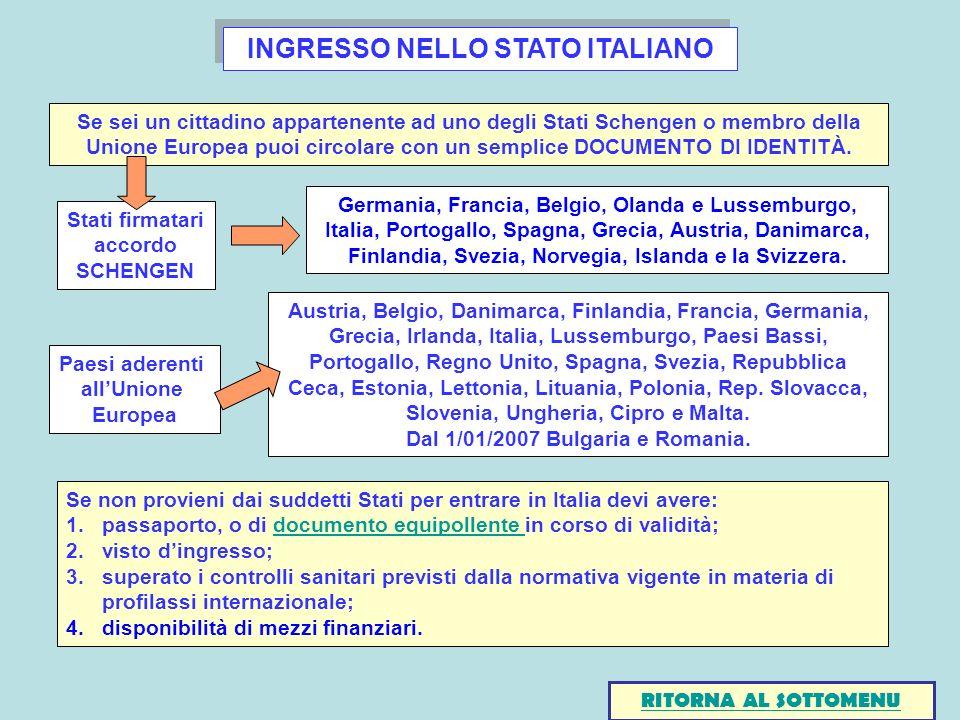 INGRESSO NELLO STATO ITALIANO Dal 1/01/2007 Bulgaria e Romania.