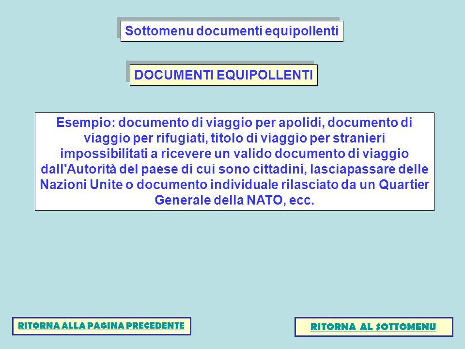 Sottomenu documenti equipollenti