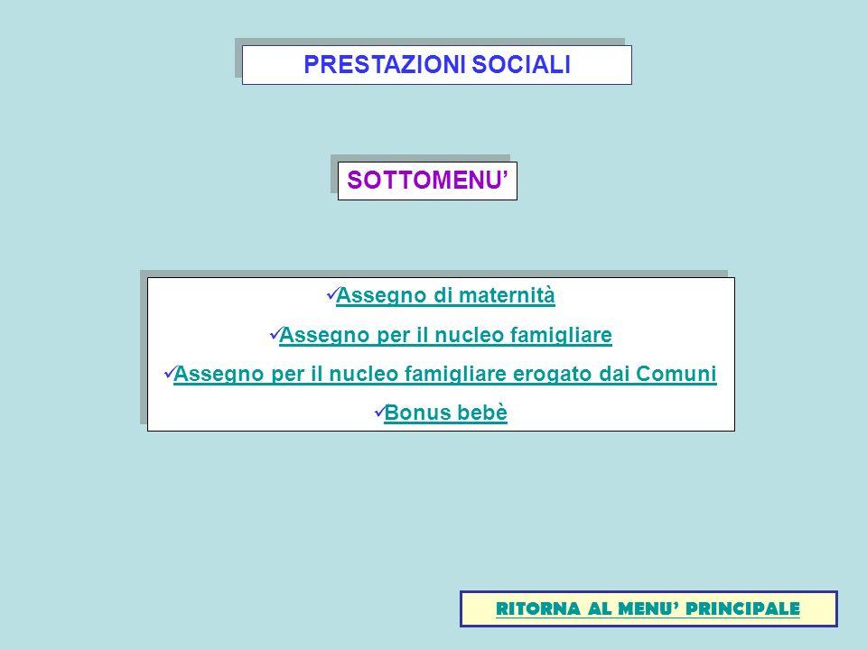 PRESTAZIONI SOCIALI SOTTOMENU'