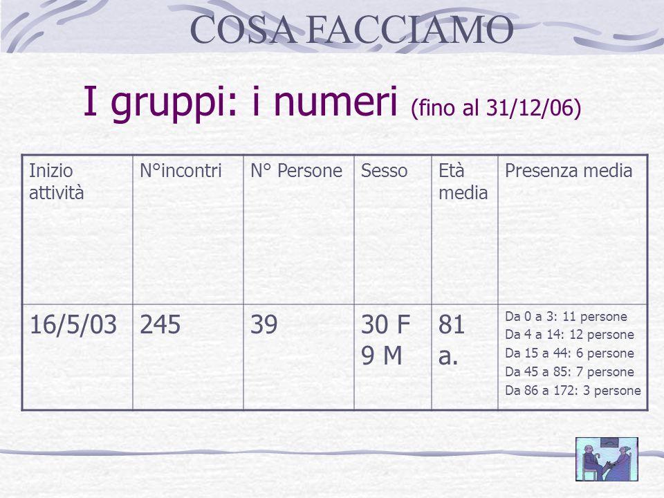 I gruppi: i numeri (fino al 31/12/06)