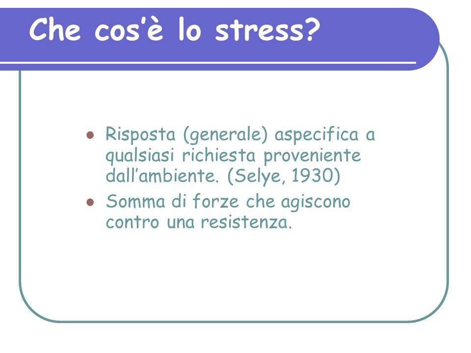 Che cos'è lo stress Risposta (generale) aspecifica a qualsiasi richiesta proveniente dall'ambiente. (Selye, 1930)