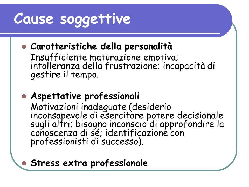 Cause soggettive Caratteristiche della personalità