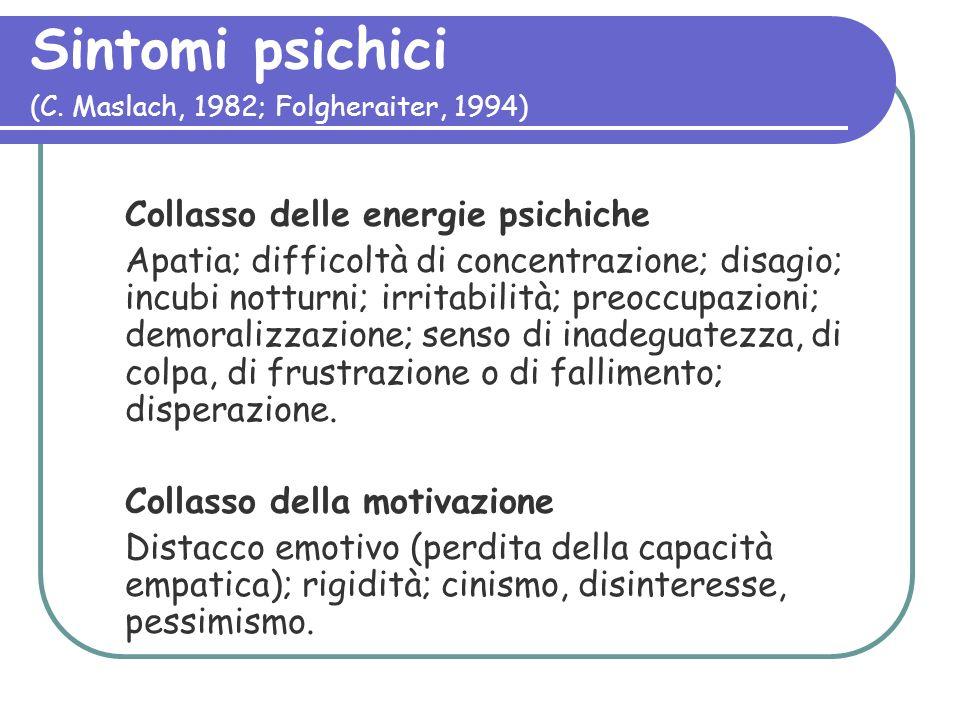 Sintomi psichici (C. Maslach, 1982; Folgheraiter, 1994)
