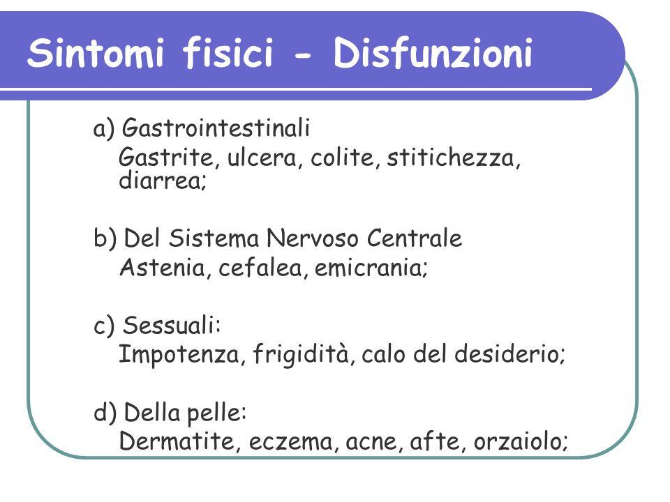 Sintomi fisici - Disfunzioni