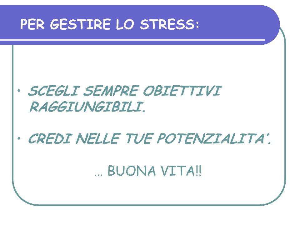 PER GESTIRE LO STRESS:SCEGLI SEMPRE OBIETTIVI RAGGIUNGIBILI.