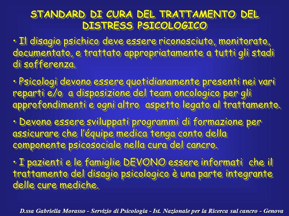STANDARD DI CURA DEL TRATTAMENTO DEL DISTRESS PSICOLOGICO