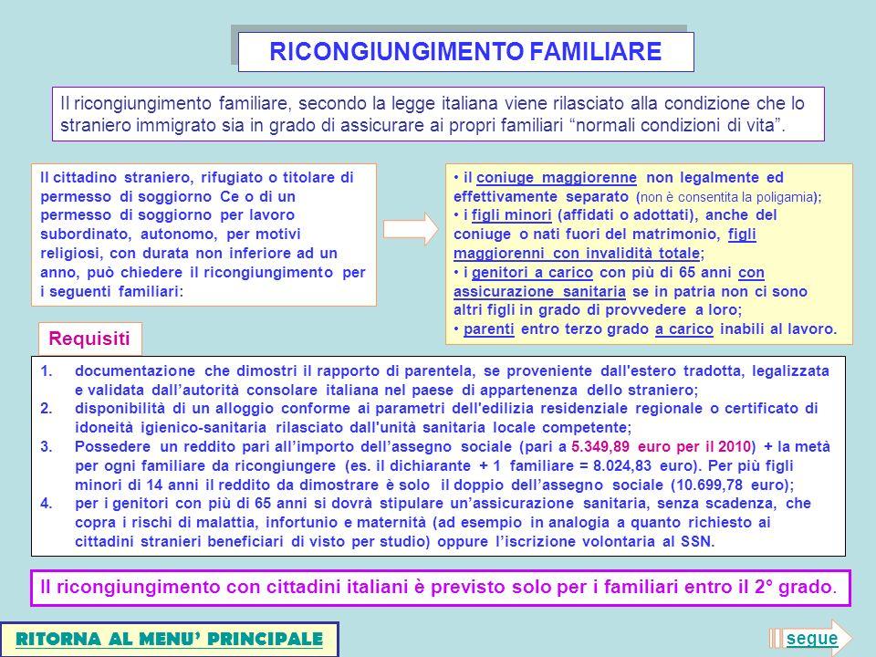 RICONGIUNGIMENTO FAMILIARE RITORNA AL MENU' PRINCIPALE