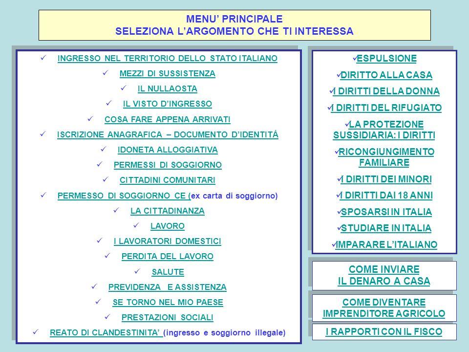 MENU' PRINCIPALE SELEZIONA L'ARGOMENTO CHE TI INTERESSA