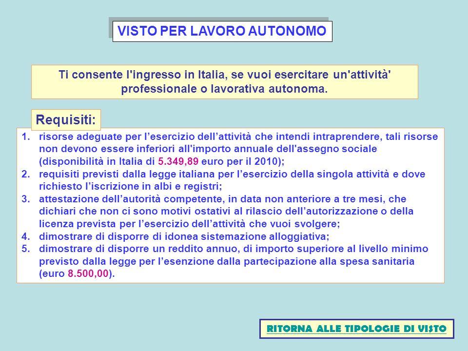 VISTO PER LAVORO AUTONOMO RITORNA ALLE TIPOLOGIE DI VISTO