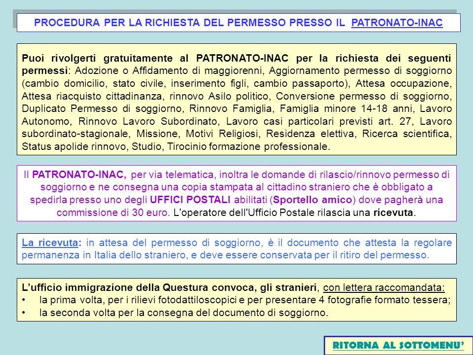 PROCEDURA PER LA RICHIESTA DEL PERMESSO PRESSO IL PATRONATO-INAC