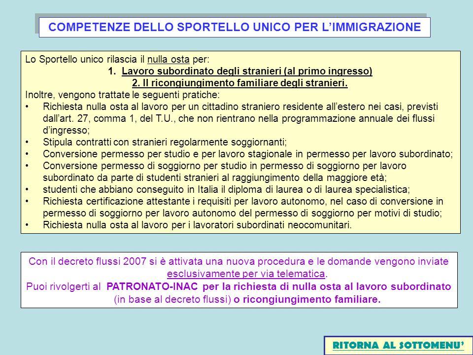 COMPETENZE DELLO SPORTELLO UNICO PER L'IMMIGRAZIONE