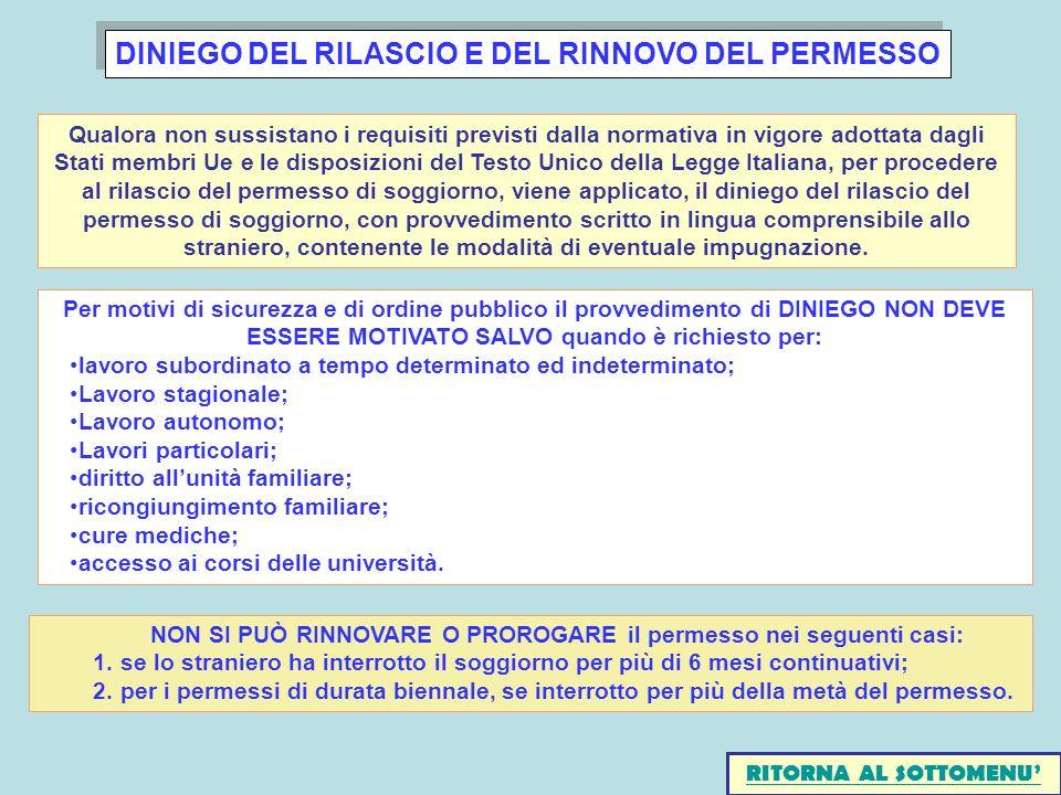 DINIEGO DEL RILASCIO E DEL RINNOVO DEL PERMESSO