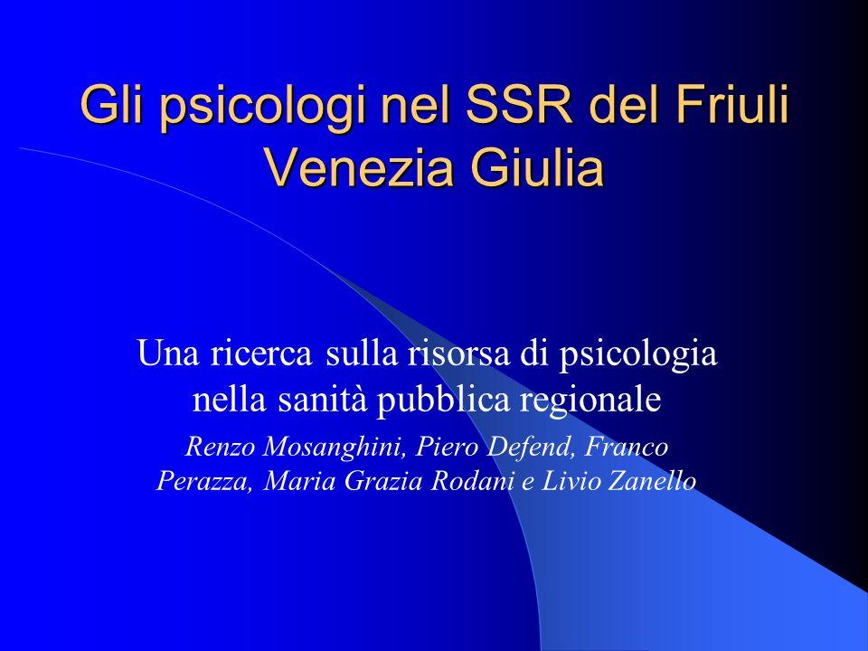 Gli psicologi nel SSR del Friuli Venezia Giulia