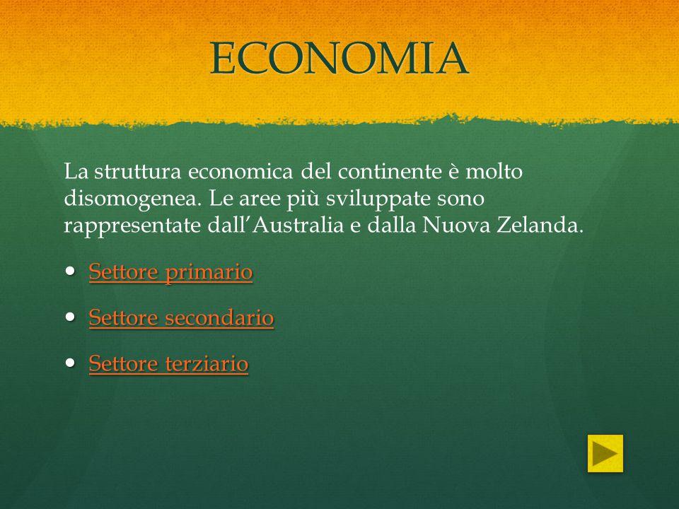 ECONOMIA La struttura economica del continente è molto disomogenea. Le aree più sviluppate sono rappresentate dall'Australia e dalla Nuova Zelanda.