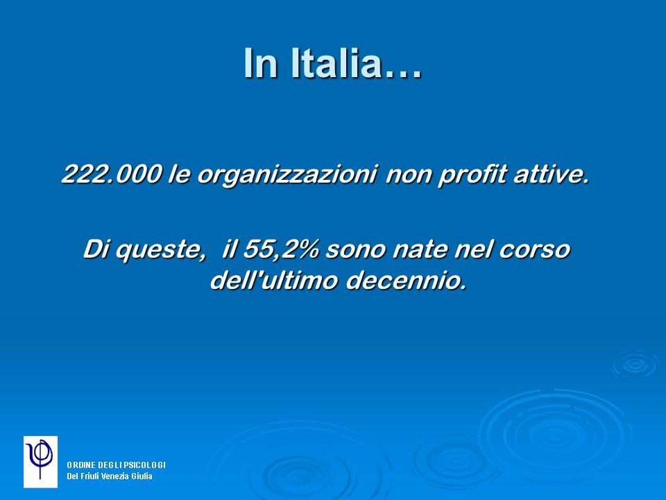 In Italia… 222.000 le organizzazioni non profit attive.