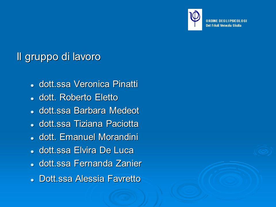 Il gruppo di lavoro dott.ssa Veronica Pinatti dott. Roberto Eletto