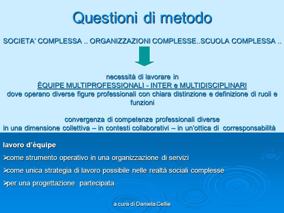 Questioni di metodo SOCIETA' COMPLESSA .. ORGANIZZAZIONI COMPLESSE..SCUOLA COMPLESSA .. necessità di lavorare in.