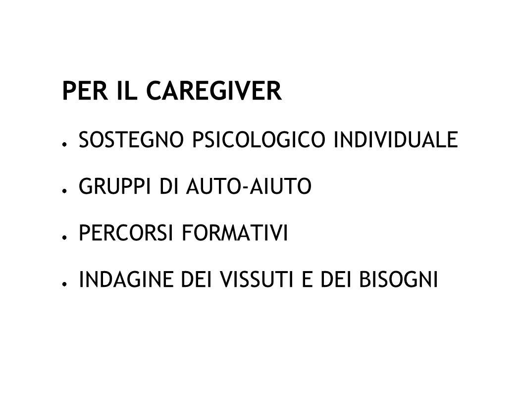 PER IL CAREGIVER SOSTEGNO PSICOLOGICO INDIVIDUALE GRUPPI DI AUTO-AIUTO