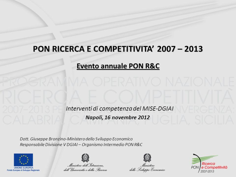 PON RICERCA E COMPETITIVITA' 2007 – 2013