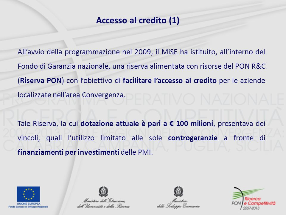 Accesso al credito (1)