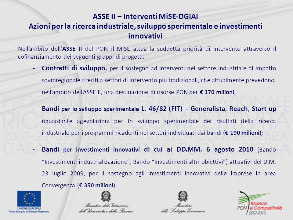 ASSE II – Interventi MiSE-DGIAI