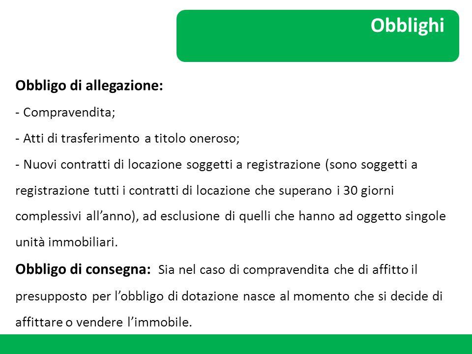 Obblighi Obbligo di allegazione: