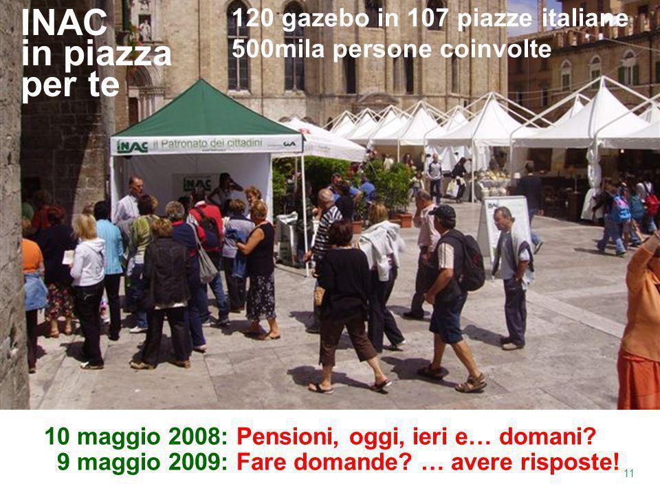 INAC in piazza per te 120 gazebo in 107 piazze italiane