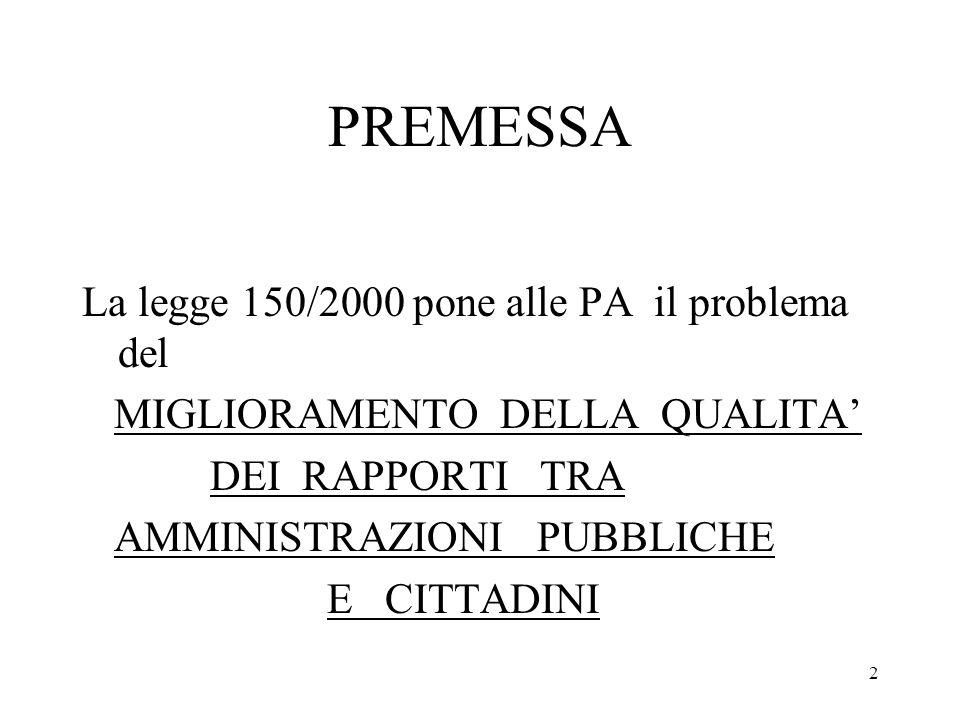 PREMESSA La legge 150/2000 pone alle PA il problema del