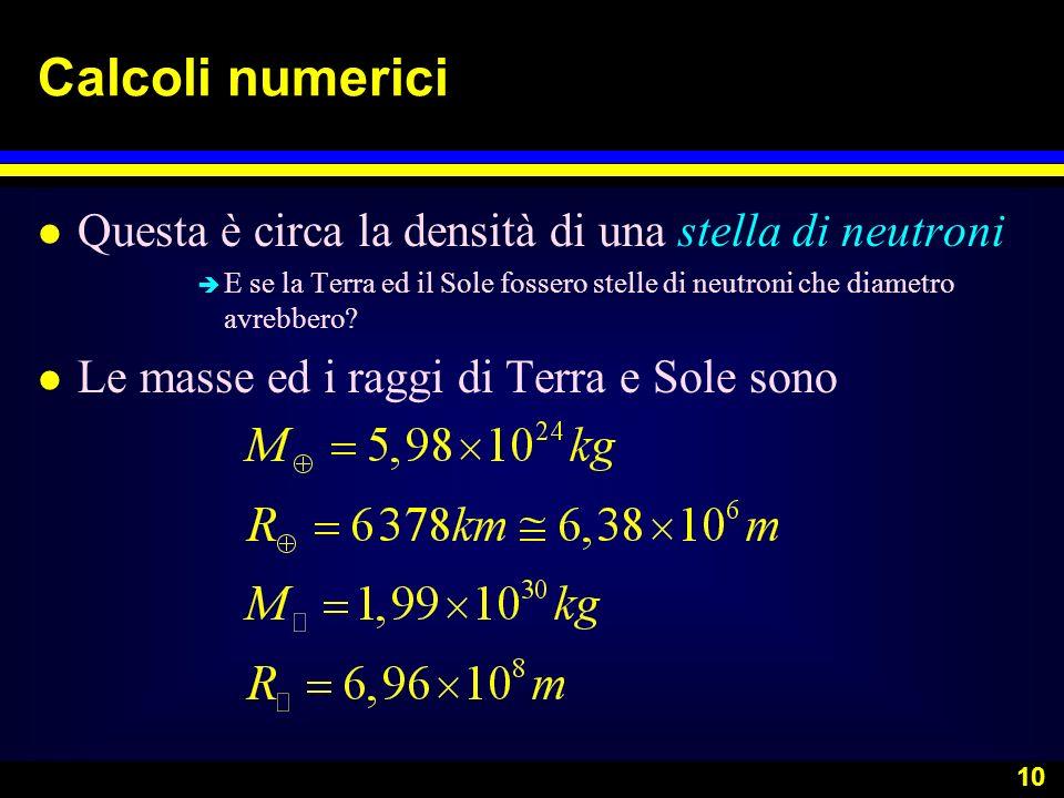 Calcoli numerici Questa è circa la densità di una stella di neutroni