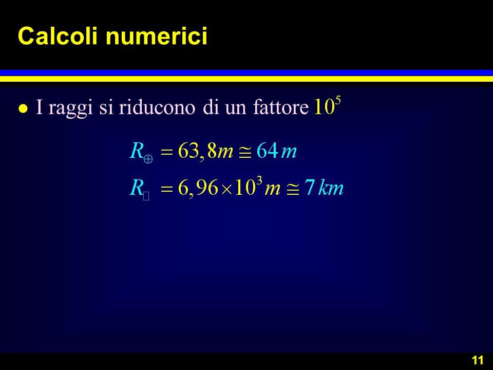 Calcoli numerici I raggi si riducono di un fattore