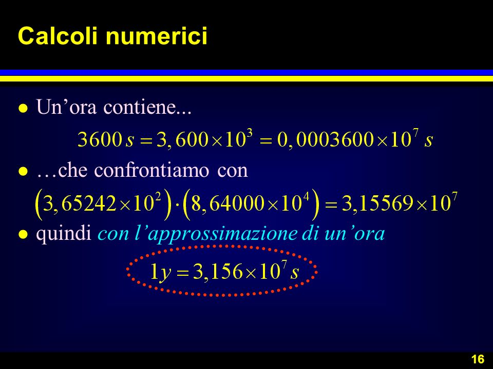 Calcoli numerici Un'ora contiene... …che confrontiamo con