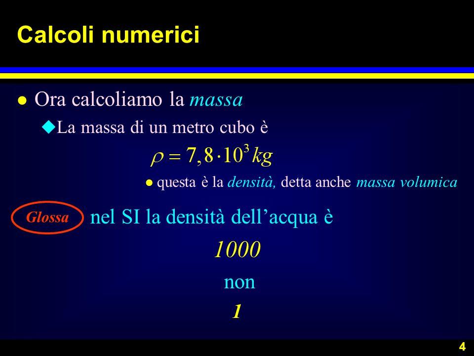 Calcoli numerici 1000 Ora calcoliamo la massa