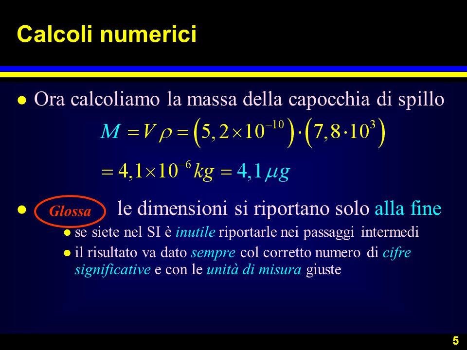 Calcoli numerici Ora calcoliamo la massa della capocchia di spillo
