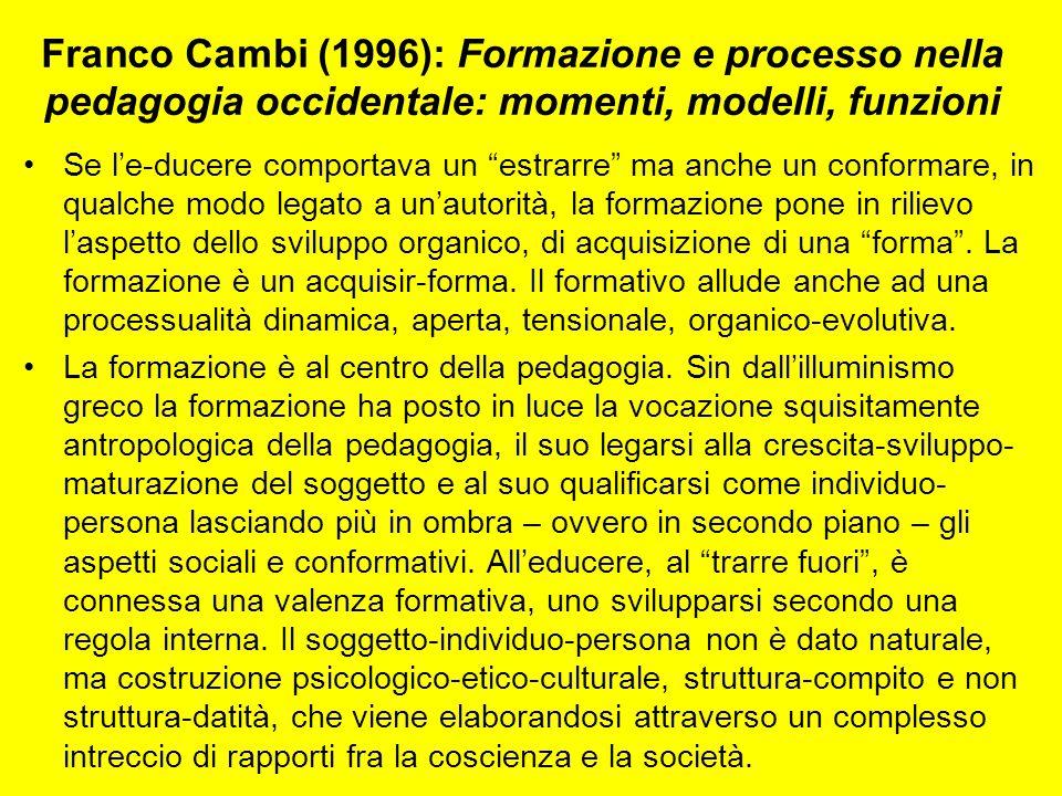 Franco Cambi (1996): Formazione e processo nella pedagogia occidentale: momenti, modelli, funzioni