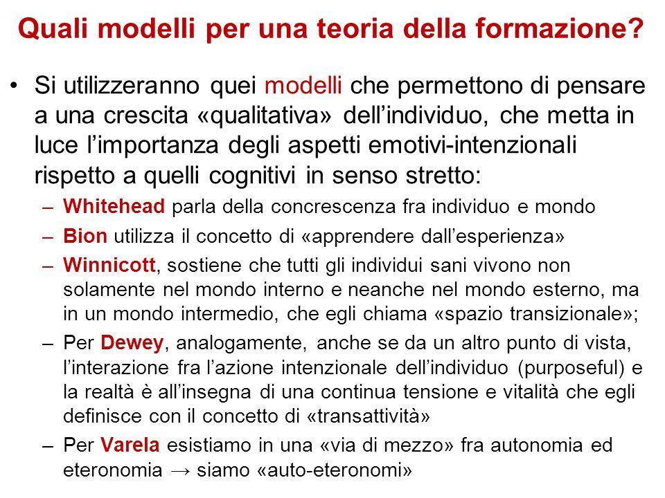 Quali modelli per una teoria della formazione