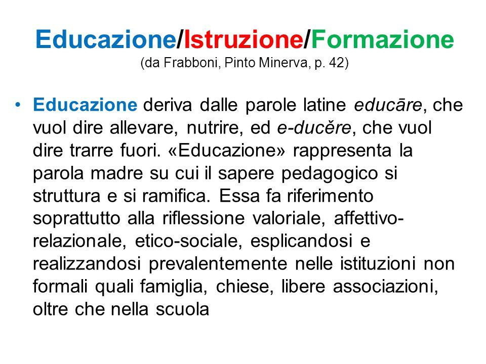 Educazione/Istruzione/Formazione (da Frabboni, Pinto Minerva, p. 42)