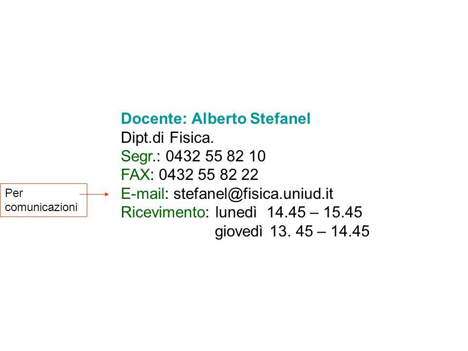 Docente: Alberto Stefanel Dipt.di Fisica. Segr.: 0432 55 82 10