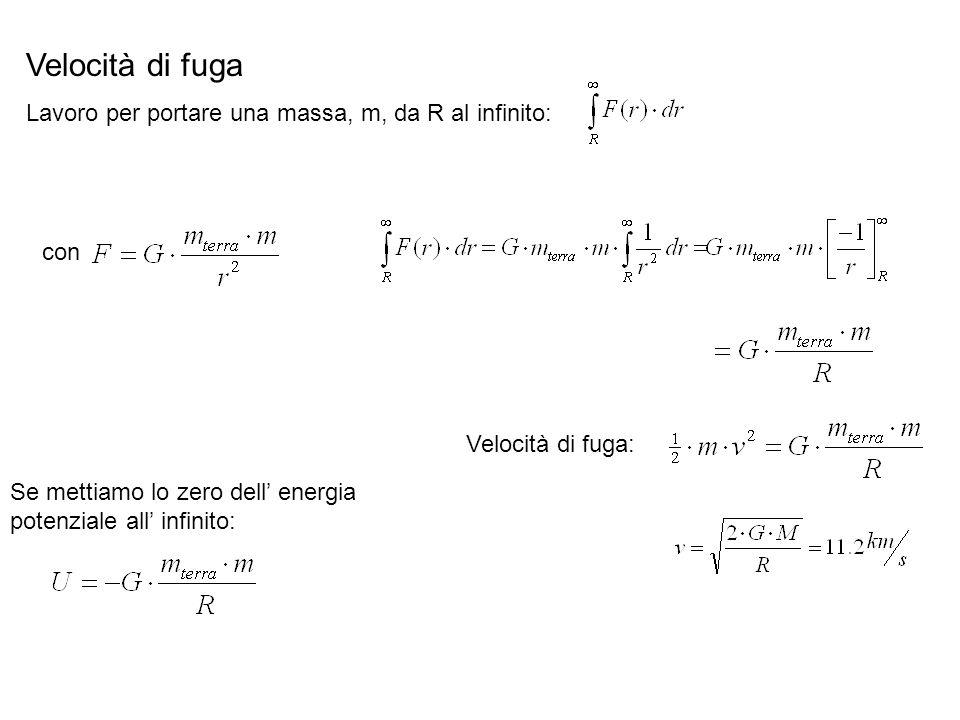 Velocità di fuga Lavoro per portare una massa, m, da R al infinito: