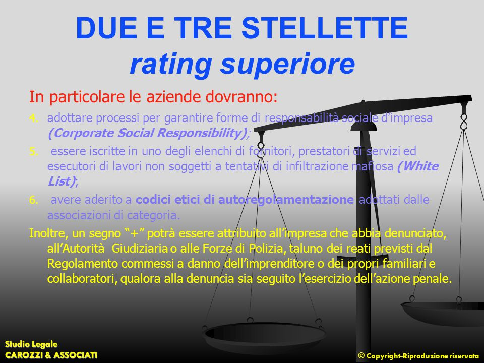 DUE E TRE STELLETTE rating superiore